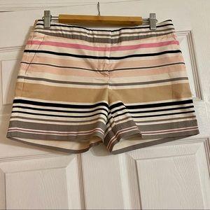 Multi -Stripe Khaki Shorts - Size 6
